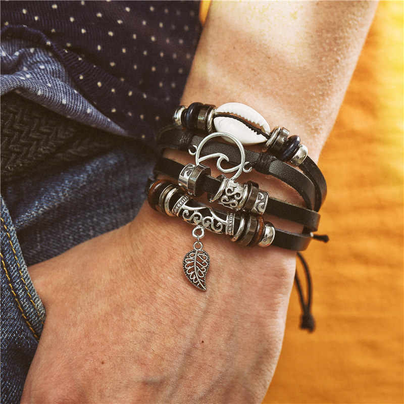 Si moi mode réglable multicouche Bracelet en cuir hommes hommes à la main envelopper corde corne feuille plume ensemble Bracelet bracelets bijoux