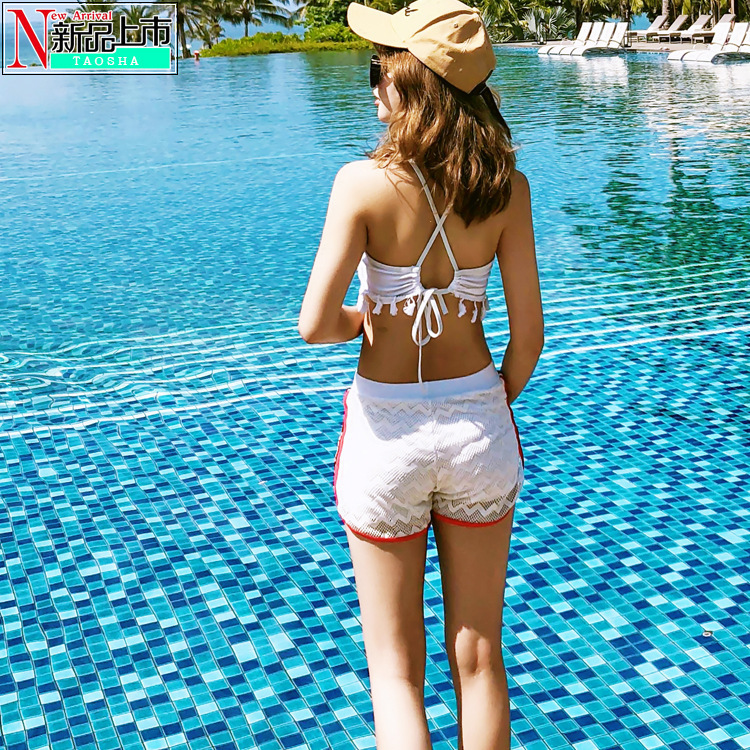 2018 New Style Women's Three-piece Set Split Type Conservative Students Hipster Large Size Fashion Hot Springs Graceful Swimwear