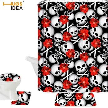 HUGSIDEA Flower Skull Print Toiletry Waterproof Shower Curtain Toilet Set Cover Mats Bathroom 4PCS Non-Slip Accessories
