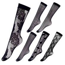High Knee Socks For Women Summer 2020 Fashion  Black Lace Crochet Mesh Stockings Thin Transparent Fishnet Stockings Sexy