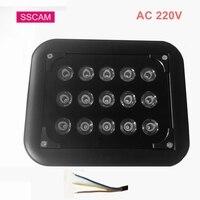 Lámpara de iluminación de alta potencia para cámara, interruptor automático de CA 220V, impermeable, IR, CCTV, cámara Led de visión nocturna, 850nm