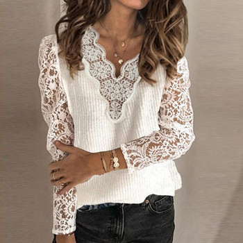T-Shirts Women's Winter Long Sleeve White Solid Color V-Neck Lace Casual Knitted Top women fashion sexy T-Shirts image
