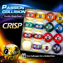 AXD – ensemble de 16 balles de billard 57.2mm, en résine, motif marbre, boules de Table de billard, accessoires en papier gratuits