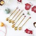 Новый год 2021 Нержавеющаясталь Рождество ложки Рождество вечерние Кофе ложка с подвеска рождественские украшения, подарок