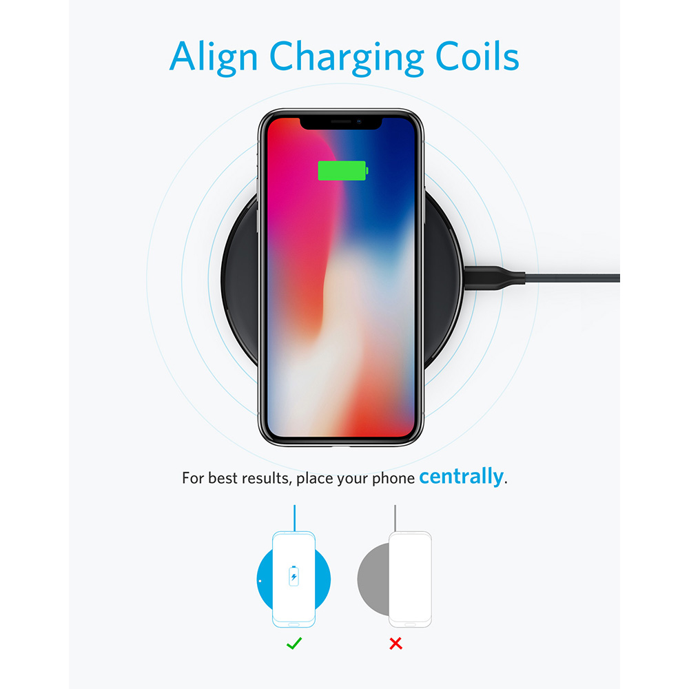 Anker Wireless Charger, PowerWave Pad Qi-Certified 10W Max for iPhone SE (2020), 11 series, AirPods,  (No AC Adapter)