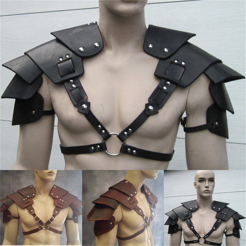 Fetish Gay Clothing Shoulder Harness Belts Erotic Body Cage Men Harness Strap Medieval Rave Leather Tops For BDSM Bondage Gay