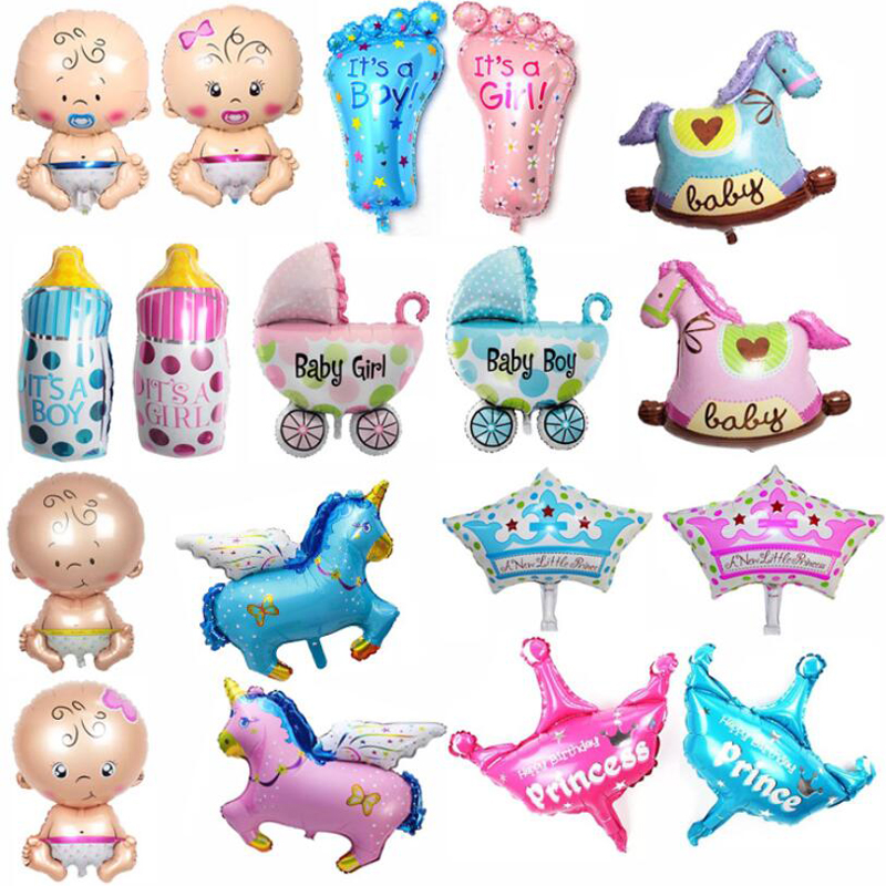 5pcs Mini Boys Girls 1st birthday Party decoration balloon baby shower crown foil wedding balloons number newborn gender reveal
