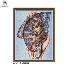 Sexy Beauty and Folding Fan Cross Stitch Kit 14ct 11ct Character Print Canvas Needlework Embroidery Set Home Decoration Painting