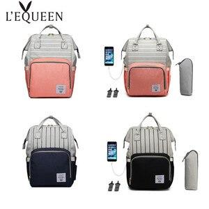 Сумка для подгузников LEQUEEN, вместительный водонепроницаемый рюкзак для мам с usb-разъемом