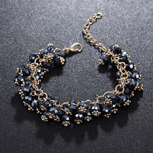 ELESHE Bohemian Charm Bracelet For Women Multilayer Black Natural Stone Beads Bracelet Bangle with Gold Chain Fashion Jewelry(China)