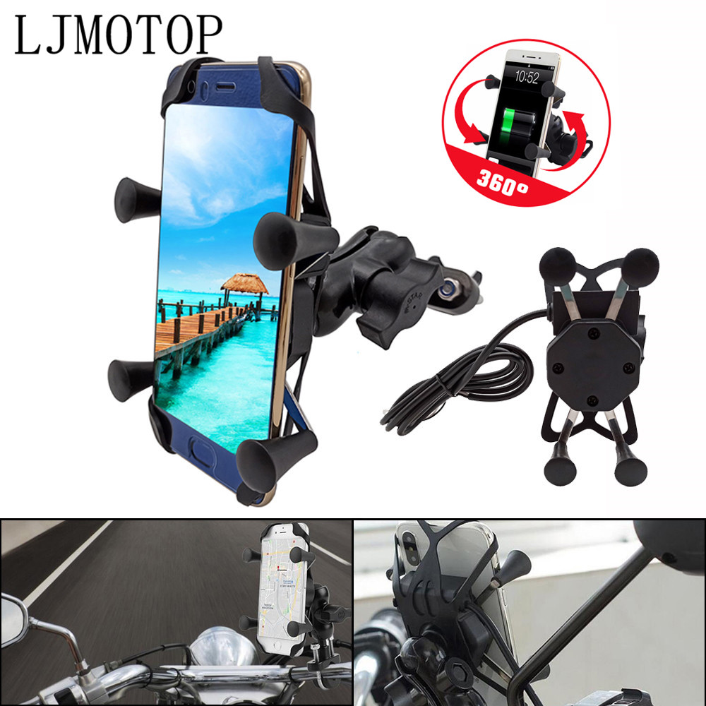 360 Chargeable Motorcycle GPS <font><b>Phone</b></font> <font><b>holder</b></font> Wired USB Universal Mount For Yamaha <font><b>XMAX</b></font> 400 <font><b>300</b></font> VMAX 1700 1200 NMAX 125 Tenere 700 image