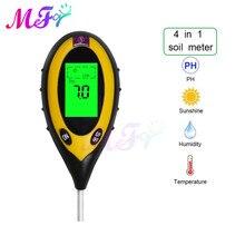 4 In 1 Digital PH Meter Soil Moisture Monitor Temperature Sunlight Tester For Gardening Plants Farming With Blacklight