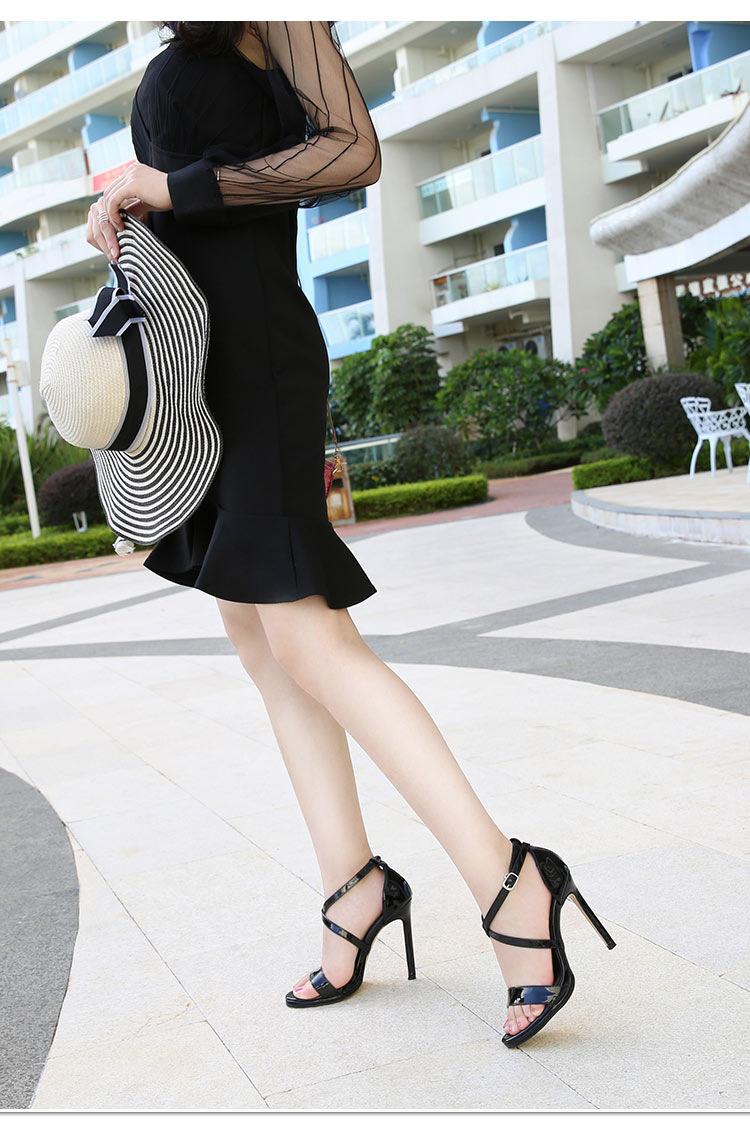 Odinokov Shoes Women Summer Shoes T-stage Fashion Dancing High Heel Sandals Sexy Stiletto Party Wedding Shoes  Black Pvc Pumps