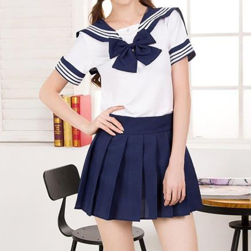 Japanese Korean Version JK Suit Woman School Uniform High School Sailor Navy Cosplay Costumes Student Girls Pleated Skirt image