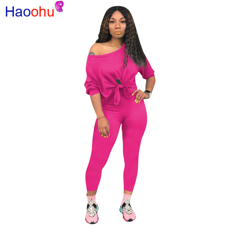 HAOOHU 2 Piece Tracksuit Set Women Clothes Neon Green Long Sleeves T-shirt Top+long Pants Set Two Piece Sexy Club Matching Sets