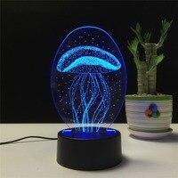 Ночник Светодиодная лампа медузы 3D визуальная иллюзия Лампа прозрачная акриловая 7 цветов меняющаяся сенсорная настольная лампа детский п...