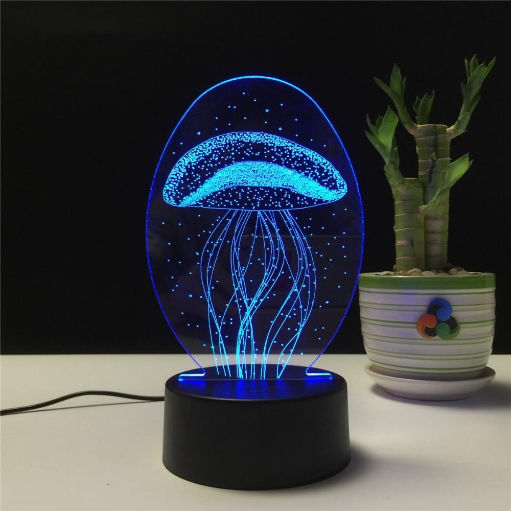 Lámpara LED de noche Medusa 3D lámpara de ilusión visual transparente acrílico 7 colores que cambian Lámpara de Mesa táctil regalo de niños lámpara de Lava Yeelight lámpara de luz LED de techo 450 habitación hogar Control remoto inteligente Bluetooth WiFi con Google asistente Alexa mijia app xiaomi