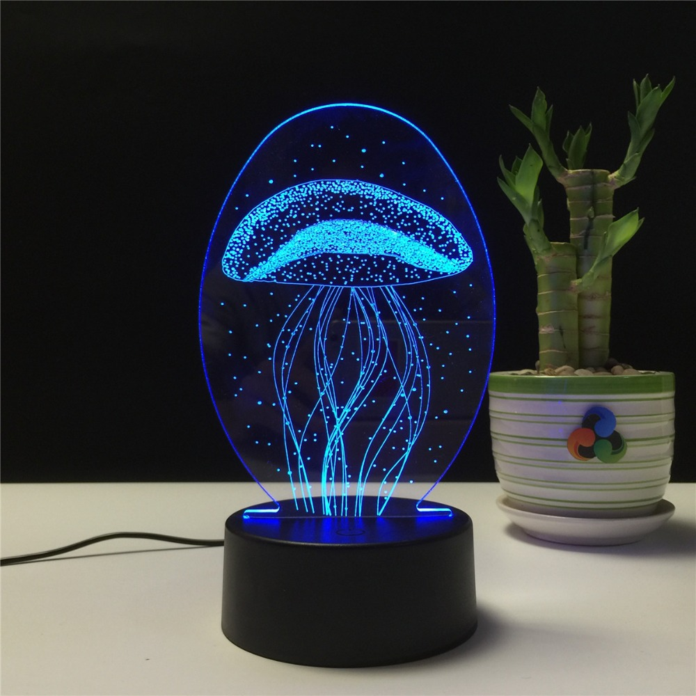 Night <font><b>Light</b></font> LED Lamp <font><b>Jellyfish</b></font> 3D Visual Illusion Lamp Transparent Acrylic 7 Color Changing Touch Table Lamp Kids Gift Lava Lamp image