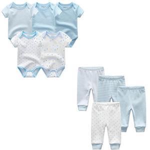 Image 4 - 9 adet/grup yenidoğan bebek giysileri setleri % 100% pamuk tulum + pantolon bebek tulum kız giyim pantolon Ropa Bebe yürümeye başlayan giyim setleri