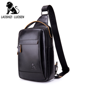 Image 1 - LAOSHIZI Brand Genuine Leather Top handle Handbag Men Chest Sling Pack Mens Shoulder Crossbody Bag Male Cowhide Messenger Bags