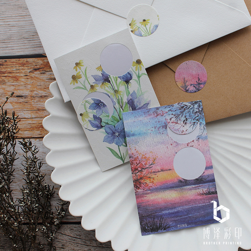 Round literary forest series small fresh watercolor painting hand account earth paper color sticker sealing sticker