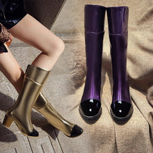 YQBTDL 2020 Fashion Gold Purple Black Fashion Mid Long High Heel Boots Female Autumn Womens Shoes Block Heels Riding Knight Boot(China)