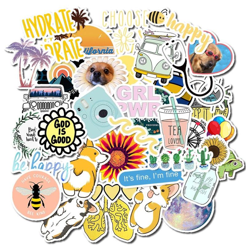 New 50 PCS Waterproof Cartoon Simple VSCO Girls Kawaii Stickers For Chidren Toy Sticker To DIY Laptop Bicycle Helmet Car Decals