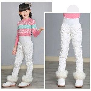 Image 2 - Leggings de Ski pour filles, épais et chaud, taille haute, élastique, pour enfants de 3 à 16 ans, hiver, 90%