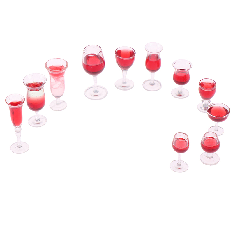 Mini Red Wine Glass Simulation Cup Drink Model Toy 1/12 Dollhouse Miniature Accessories Decoration