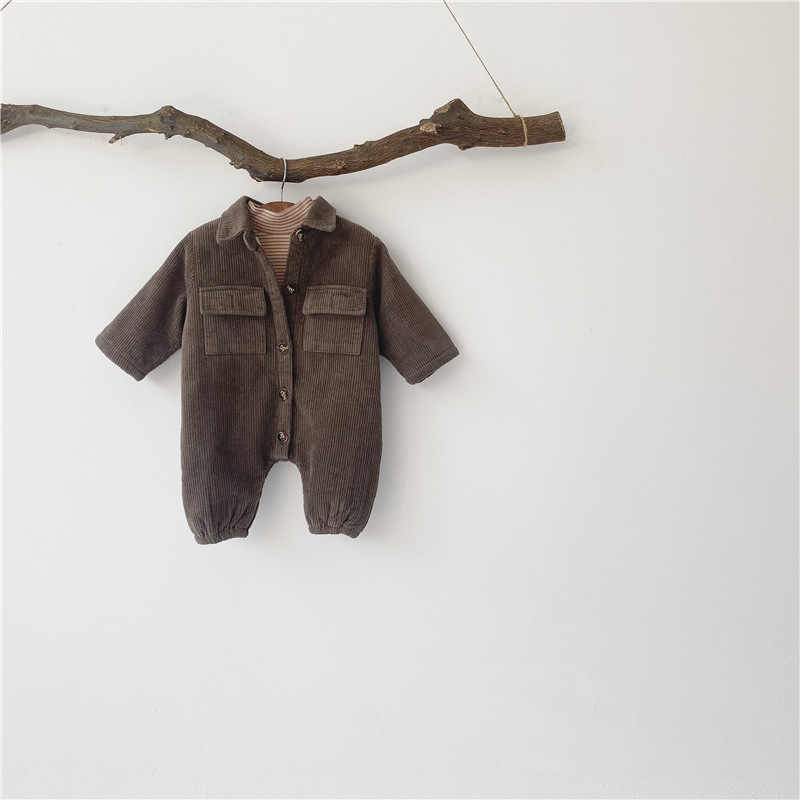 Baju Terusan Bayi Baru Lahir Anak Laki-laki Celana Kodok Korduroi Bayi Bayi Gadis Pakaian Bayi Pakaian Menebal Lapisan Bayi Rompers