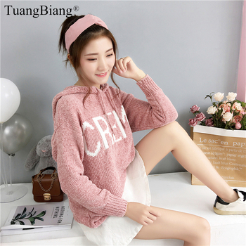 Hooded Women Cashmere Coarse wool Pullovers Full sleeve Winter basic Thick Sweater Ladies Letter Loose female Autumn jumper 2019 turtleneck pullovers loose basic sweater autumn and winter tops solid cashmere sweater women loose thick mink cashmere sweater