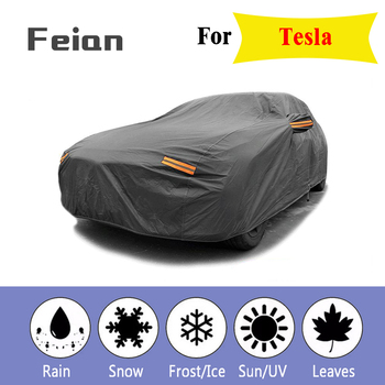 Black Breathable Waterproof Fabric Car Cover w Mirror Pocket Winter Snow Summer sun UV Full Car Protection COVERS for Tesla