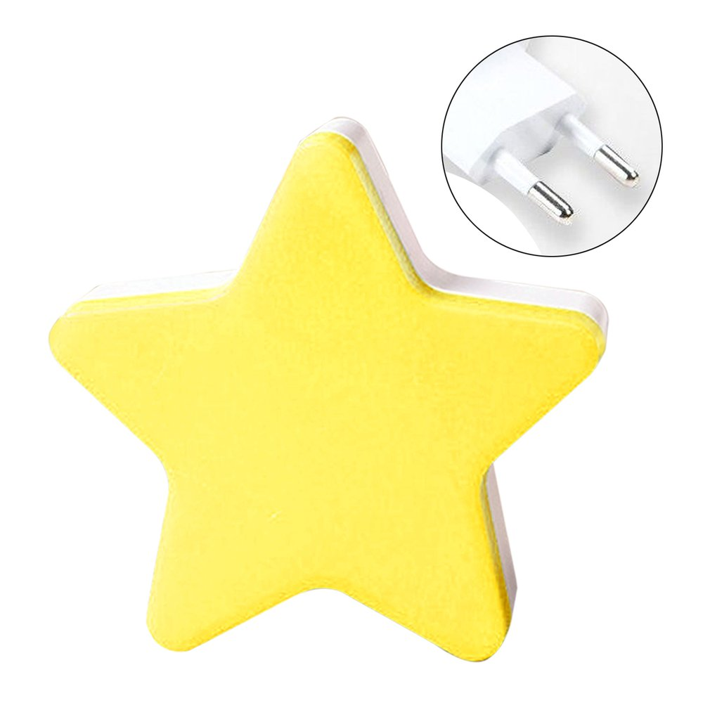 Novelty Children LED Light Mini Star Flashlight AC110/220V Pulg-in Wall Socket Bedside Lamp EU/US Light Sensor Control Lamp
