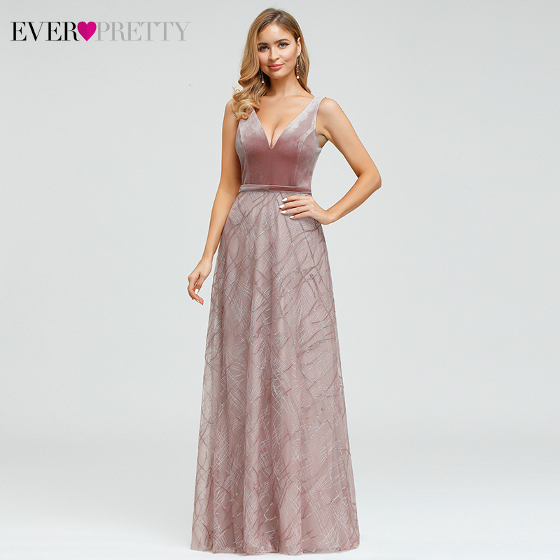 Sexy Velour Evening Dresses Ever Pretty EP00883 Sequined Deep V-Neck Sleeveless Tulle Sparkle Formal Gowns Vestido Largo Fiesta
