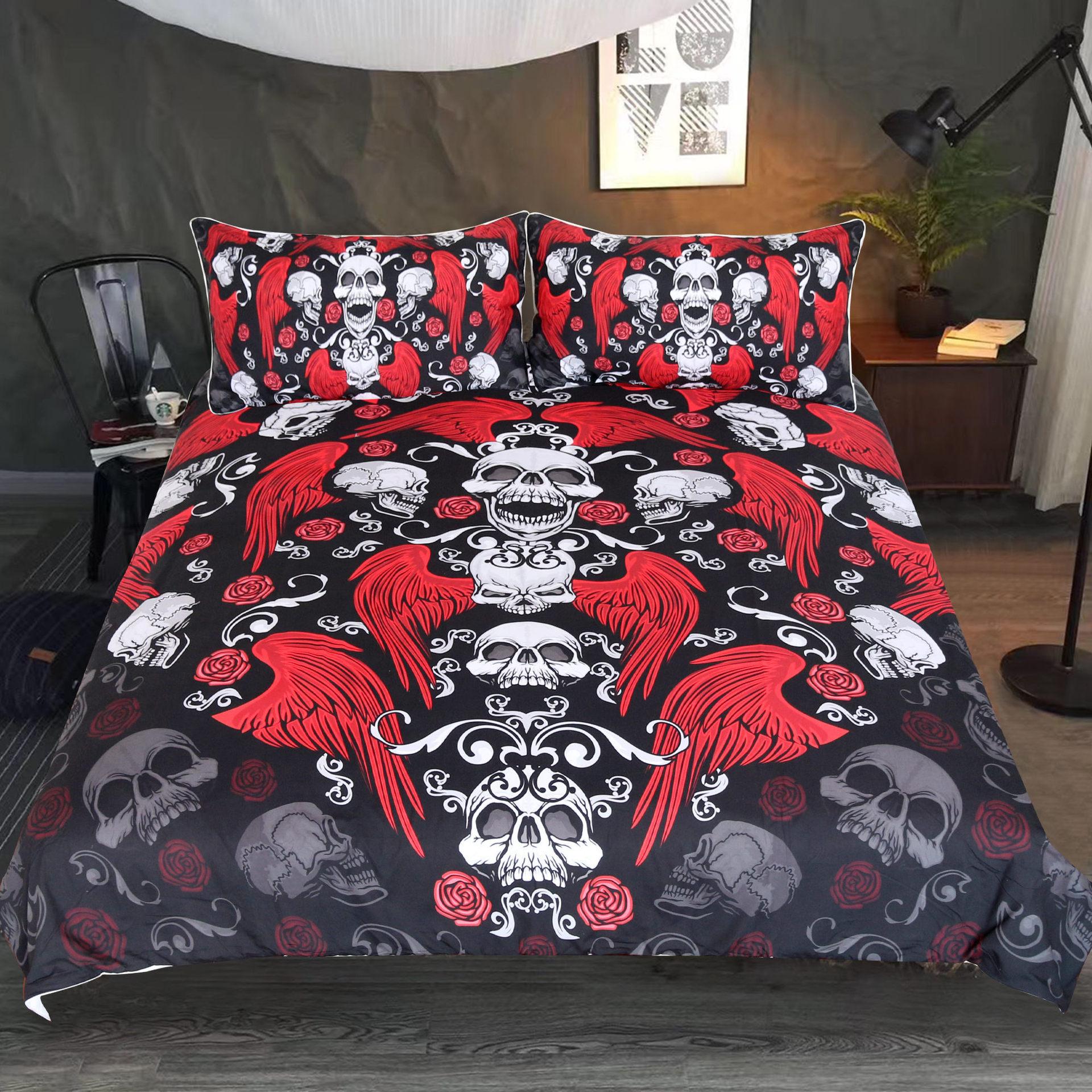 Ev ve Bahçe'ten Nevresim'de Kırmızı kanatlı kafatası desen ev tekstili nevresim 2 yastık kılıfı 3D baskı moda yatak 3 adet Set ve levha title=