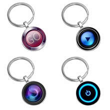 2019 New Hot Mens Keychain Latest Power Switch Pattern Glass Cabochon Gift  From The Batch