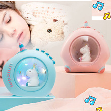 Music Nightlight Girl Heart Room Decorated Unicorn Starlight Student Gift Christmas Gift Fairy Lamp Battery Lamp dandelion unicorn 3d led nightlight wood base with music box dimming remoting switch little girl gift bedroom deco lamp iy804015