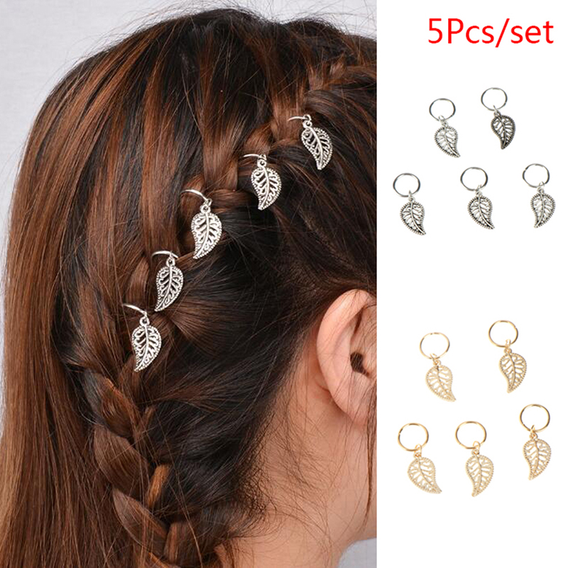 5pcs/bag Twist Braid Hair Ornament Leaves Pendant Hair Clips Hairpins Hair Wear Accessories For Women Girl Fashion Jewelry