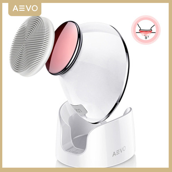 AEVO Facial Cleansing Brush Face Skin Care Brushes 2 in 1 Heated Massager Sonic Vibrations Deep Cleaning Electric Face Cleanser