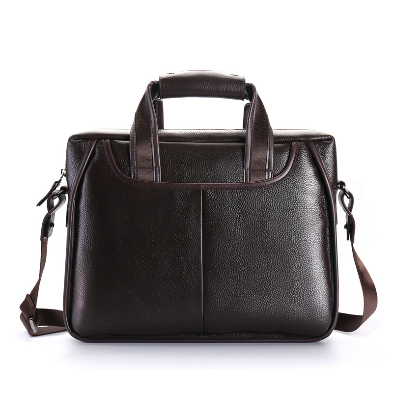 Nesitu High Quality A4 Black Coffee Genuine Leather Office Men's Briefcase Business Messenger Bag Portfolio M200905