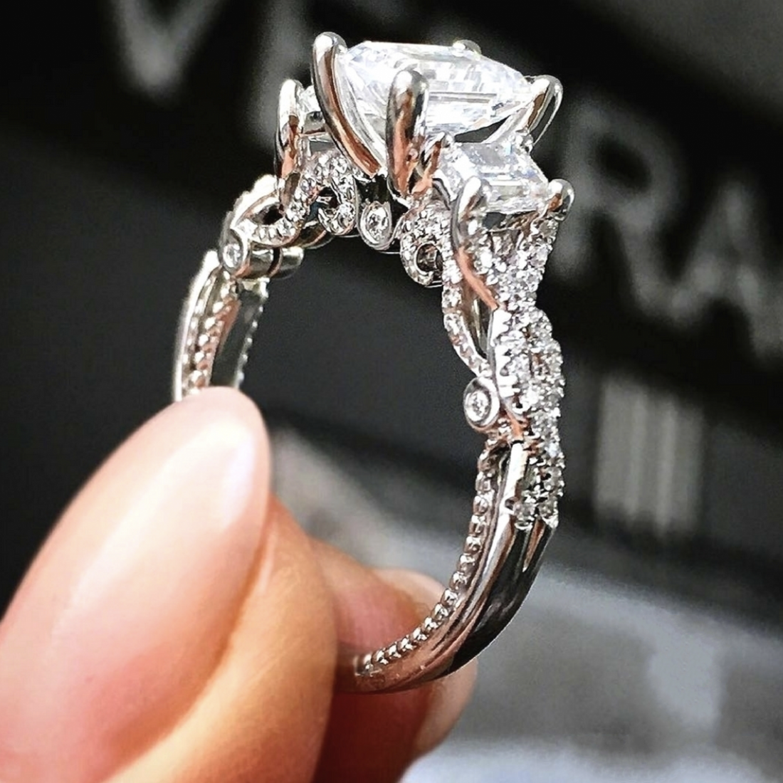 Luxury 100% 925 Sterling Silver Square Three Stone Diamond Ring Finger Brand Created Moissanite Wedding Rings For Women Jewelry