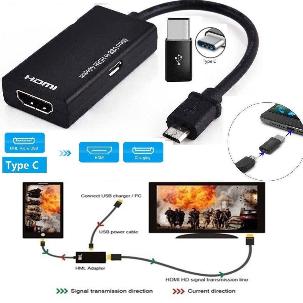 MeterMall タイプ C & マイクロ USB Hdmi 1080 1080P の HD オーディオビデオケーブル Hdtv コンバータアダプタテレビ PC ノートパソコンの電話タブレット