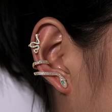 Artillery ady – ensemble de boucles d'oreilles à clipser pour femme, lot de 2 pièces, couleur or, serpent, CA, pierre, accessoires, breloque