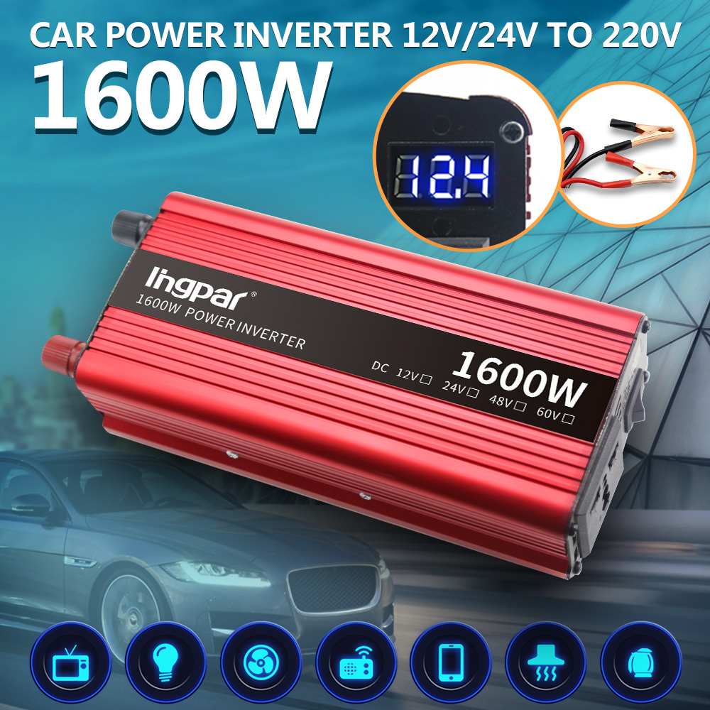 Lingpar 1600 Вт Инвертер светодиодный дисплей USB автомобильный инвертор DC 12 В в AC 220 В модифицированный синусоидальный преобразователь
