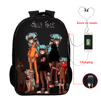 16inch USB School Bags Sally Face Printed Boys Girls Backpack Bag Sally Face Fashion School Bags for Teenager Mochilas Backpack sally clarkson girls club