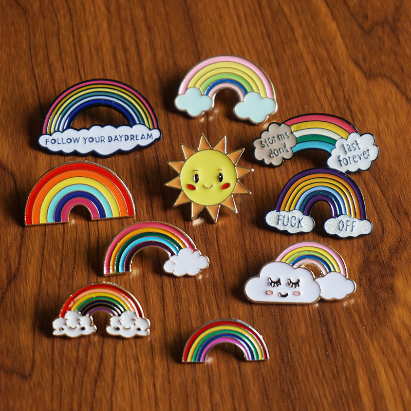 Woman Rainbow Clouds Brooches Bag Clothes Lapel Pin Badge Gift For Girls Kids Enamel Pin Jewelry Accessories