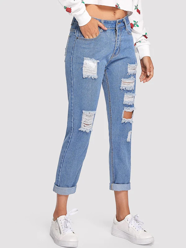 High Waist Jeans Woman 2019 Mom Ripped Big Push Up Pants Stretch Hollow Out Blue Boyfriend Baggy Loose Streetwear Ladies 0133