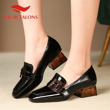 JOUIR TALONS 2020 Brand Design Genuine Leather Women Pumps Square Toe Square Heels Buckle Summer Dress Shoes