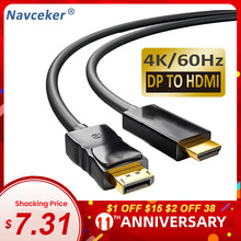 2020 DP to HDMI Cable 4K Male to Male Display Port Converter Cord DisplayPort to HDMI Cable Adapter For Projector PS4 PC HDTV