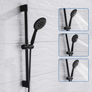 Image 1 - Ensemble de douche à revêtement noir mural